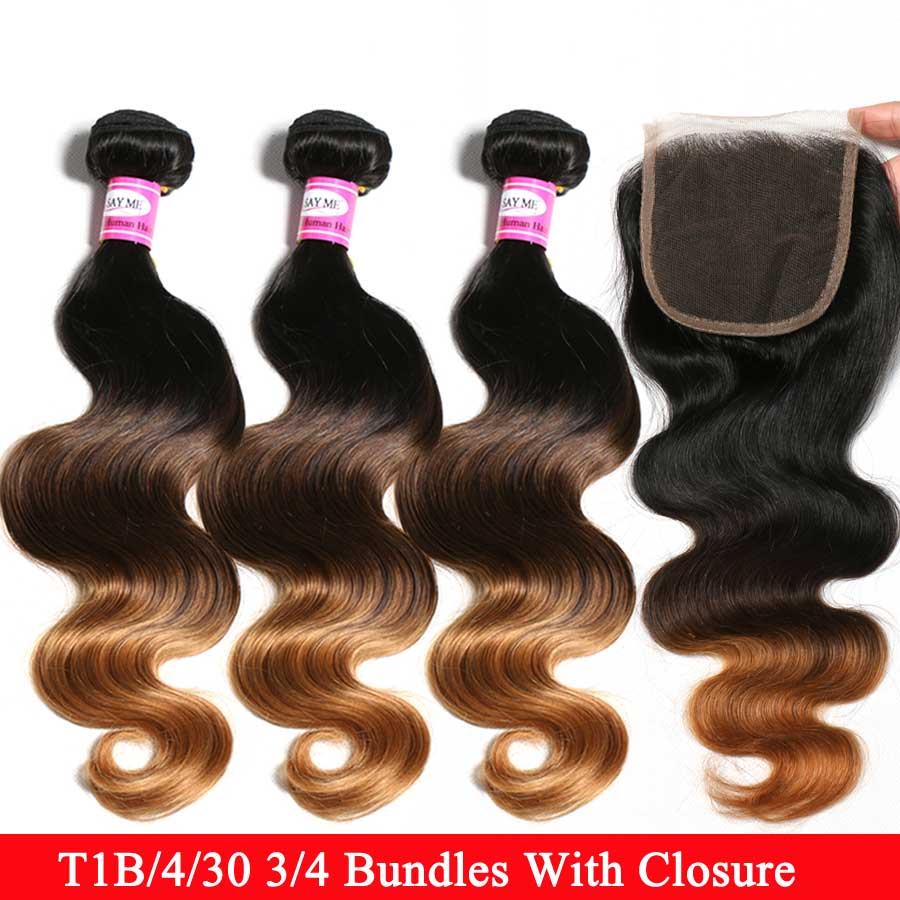Ombre Body Wave 3/4 Bundles With Closure Malaysian Hair Bundles With Closure Remy Honely Blonde Human Hair Bundles With Closure