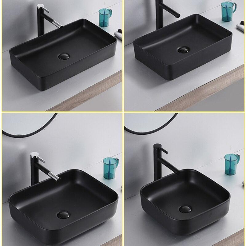 Accessoires de bain bassin d'entrepôt en céramique salle de bains évier blanc au dessus du comptoir bassin avec tuyau de vidange shampooing éviers comptoir - 2