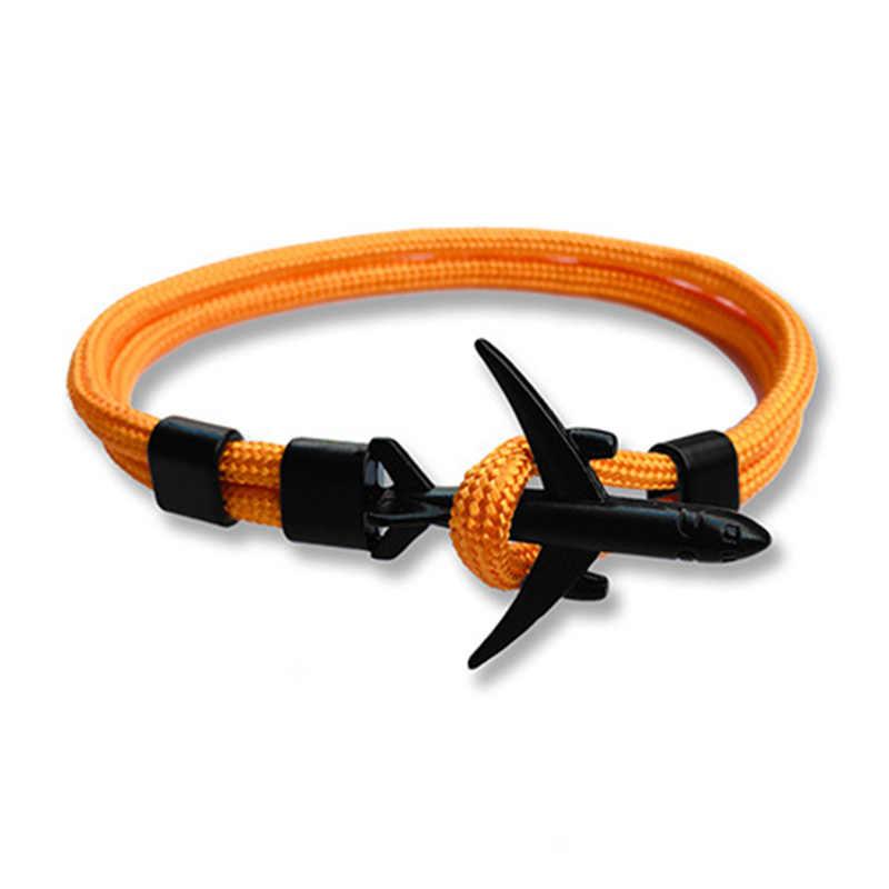 Moda azul Color negro avión pulsera multicapa cuerda cadena pulsera para Mujeres Hombres estilo marino regalo