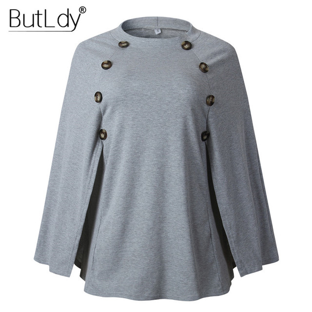 Button Irregular Cloak Sweater Women Knitting Pullover Autumn Winter Fashion 2019 Batwing Sleeve Sweater Knitwear Female Tops 10