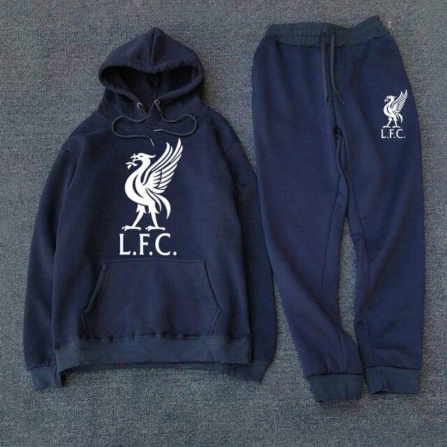 Fashion Men's Sportswear Casual Hooded Sportswear Set 2020 New Liverpool Football Sportswear + Men's Hooded Sportswear 1