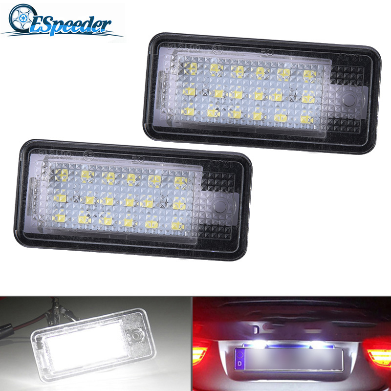ESPEEDER 2x 18 LED License Number Plate Light Lamp Car License Plate Lights Car Styling For <font><b>Audi</b></font> A3 S3 A4 S4 B6 A6 S6 <font><b>A8</b></font> S8 Q7 image
