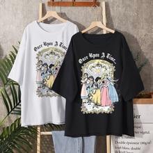Disney Modus Schnee Wei Prinzessin Harajuku Cartoon Druck Frauen T-Shirt Casual Oansatz Pullover Kurzarm Verlieren T Tops