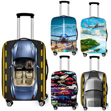 fashion car / airplane print luggage cover for travelling anti-dust suitcase protective covers baggage trolley case cover(China)