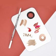 Misturador de maquiagem de aço inoxidável da arte do prego polonês placa de mistura fundação sombra de olho paleta misturadora com haste de espátula