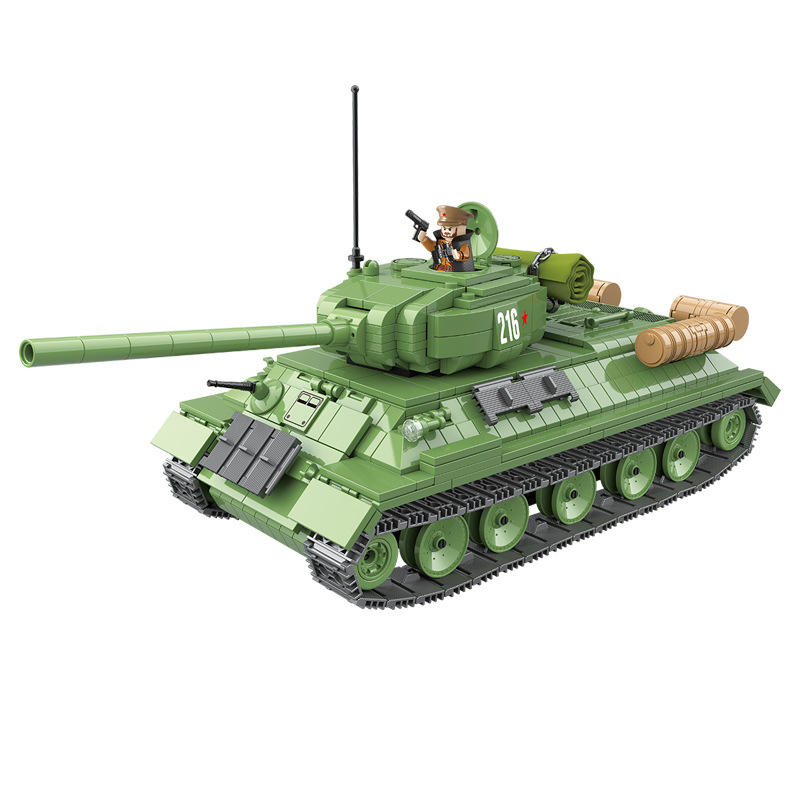 World War II Military Series Russia T-34 Medium Tank Building Blocks DIY Soldier Action Figures Toys Gifts