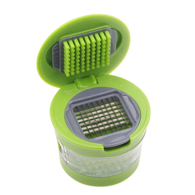 2020 Two In One Portable Mini Press Garlic Grinder With Cover Kitchen Appliances Fruit Vegetable Tools Gadgets Accessories Green