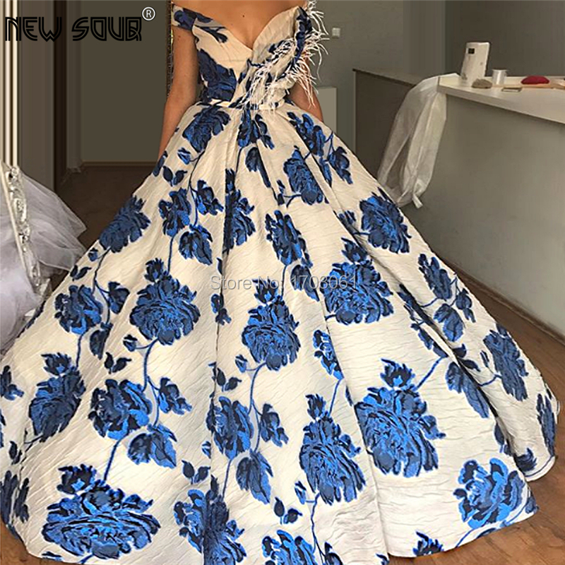 Feather Embroidery Muslim Evening Dresses Islamic Kaftans Puffy V Neck Prom Dress Dubai Arabic Wedding Party Gown Robe De Soiree