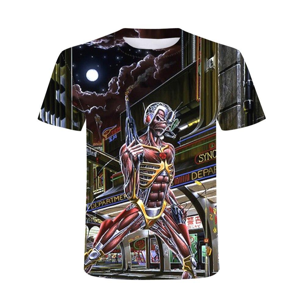 Мужская футболка с принтом черепа, Повседневная футболка большого размера с круглым вырезом и короткими рукавами, с 3D-принтом в стиле хип-хо...