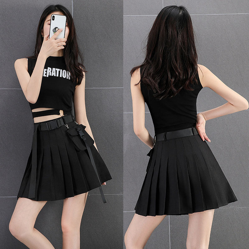 2020 New Korean Style Womens Vogue Black Sashes Short Mini Skirt Woman Girl Harajuku High Waist Preppy Style Pleated Skirts
