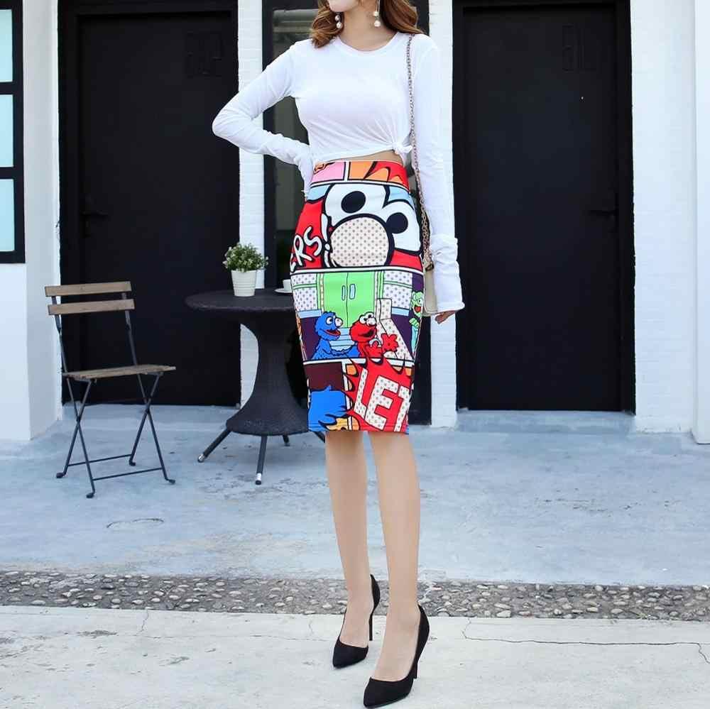 Vêtements pour femmes taille haute sac imprimé dessin animé lettre Kawaii jupes japonais Streetwear grande taille Mini femmes jupes vêtements