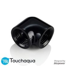 """Bitspower Touchaqua 90 градусов локоть двойной внутренний G1/"""" удлиняющий фитинг черный, серебристый"""