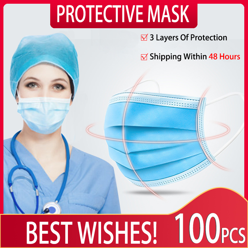 IN STOCK 100PCS Disposable Masks Anti Gas Fabric Dust Mouth Mask 3 Layers Non Woven Mascherine Facemask Protection Face Masks