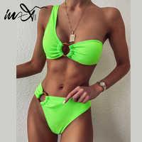 In-X сексуальное бикини на одно плечо 2020 mujer ребристый купальник женский купальник с кольцом женский неоновый зеленый бикини купальный костю...