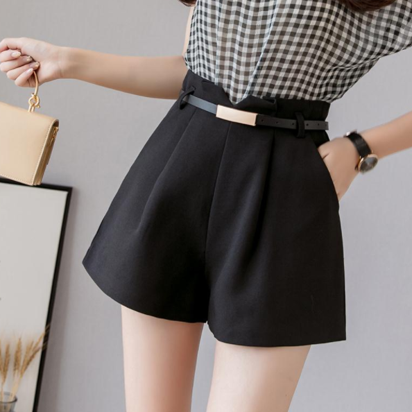 Brief Design Black Suit Shorts For Women 2019 Solid High Waist Wide Leg Shorts With Belt Summer Casual Shorts AQ396