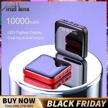 PINZHENG Mini 10000mAh Power Bank dla Xiaomi Mi Power Bank przenośna ładowarka zewnętrzna bateria LED cyfrowy wyświetlacz USB Powerbank