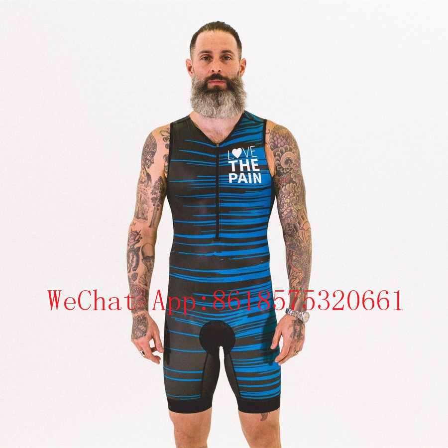 Love the pain men 39 s cycling skinsuit triatlon ropa ciclismo uniforme bicicleta triathlon skin suit run speedsuit swimwear in Cycling Sets from Sports amp Entertainment