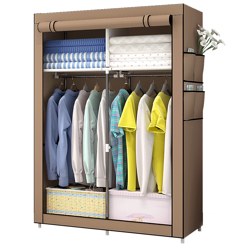 Simple Wardrobe Fabric Simple Modern Bedroom Economical Reinforcement Overall Wardrobe Household Cloth Wardrobe