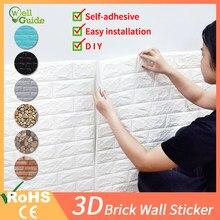 3d adesivos de parede tijolo pedra padrão impermeável auto-adesivo 70cm * 77cm 3d papel de parede adesivo para sala de crianças cozinha sala de estar