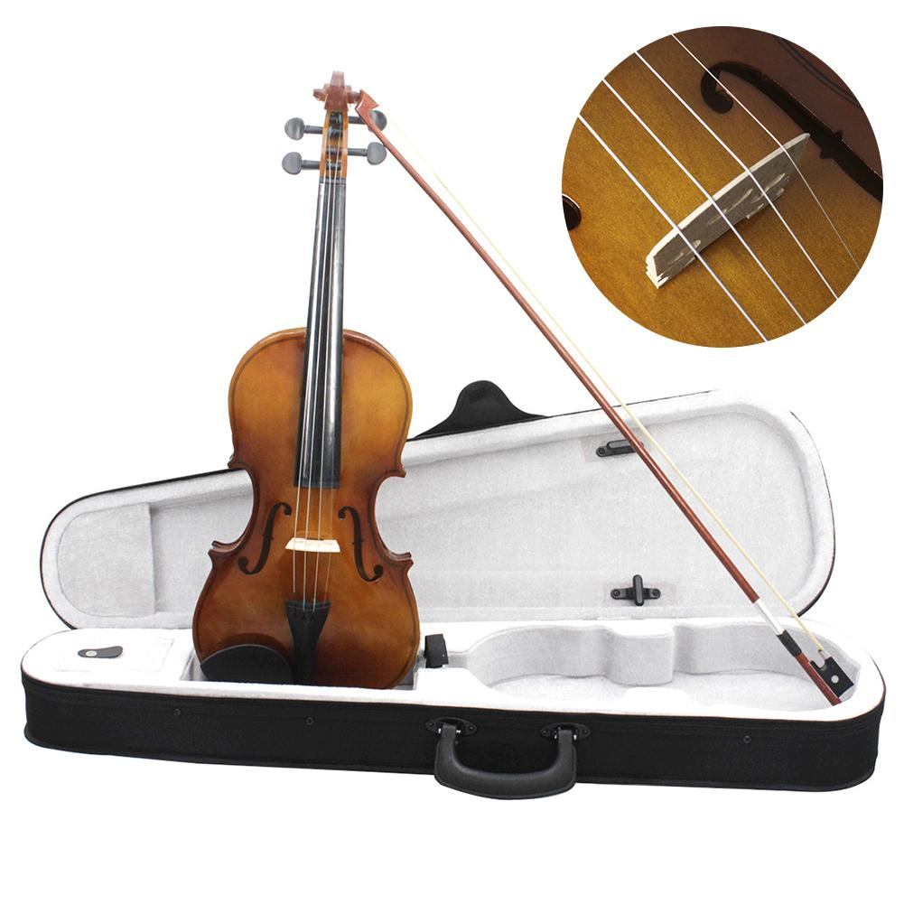 Violin 4/4 Full Size Violin Vintage With Violin Case Rosin Bow Strings Student Beginner Learning Tool With Tough Plastic Panel