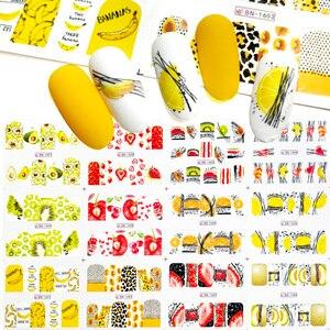 12 шт. летние фруктовые Водные Наклейки, фрукты/киви/банан/лимон/клубника, блестящие декоративные наклейки для маникюра 2020