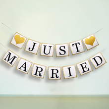 Wedding Decoration Banner Just Married Wedding Banner Photo Decor Banner Garland Party Flags Candy Bar Decoration