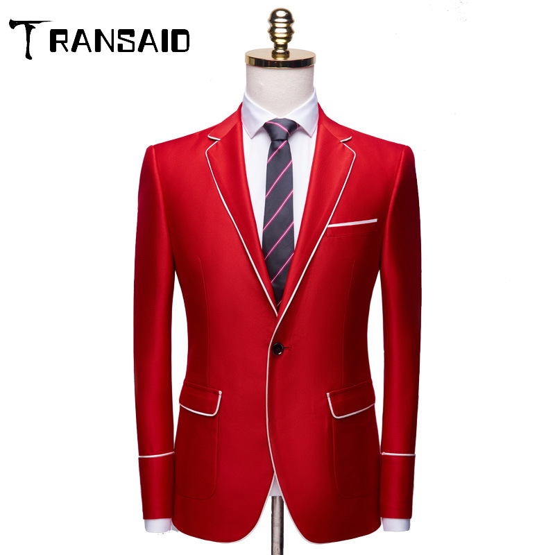Brand Men's Casual White Red Suit Jacket Plus Size 4XL Wedding Slim Fit Men Blazer Tuxedo Stage Costume For Singer Costume Homme