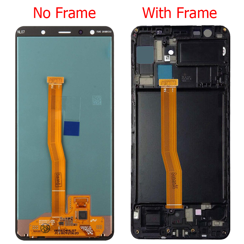 Original a7 2018 amoled lcd for samsung galaxy a7 2018 a750 display with frame 6.0