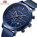 Мини фокус  модные мужские часы  роскошный дизайн  кварцевые часы для мужчин  водонепроницаемые  синий  нержавеющая сталь  сетчатый ремешок  ...