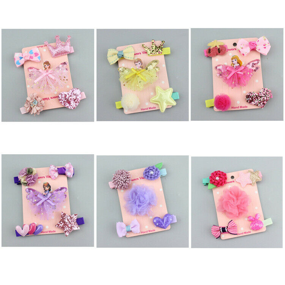 5Pcs//set Baby Girl Hair Clip Bow Flower Mini Barrettes Party Star Kids Hairpin