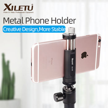 XILETU XJ-10 56mm to 95 mm Universal Aluminum Alloy Metal Phone Holder Clip Mount w 1/4 Screw Hole Bubble Level for Smartphones
