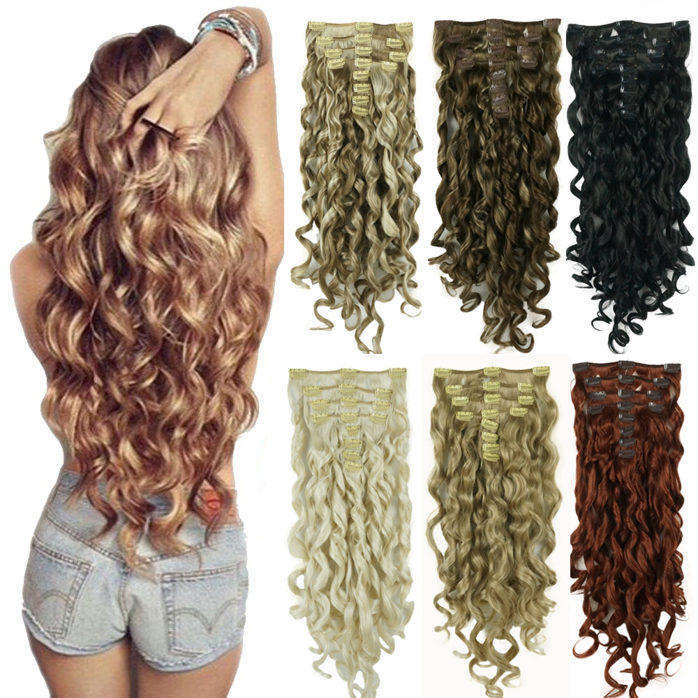 "StrongBeauty 20"" Wavy Full Head Synthetic Heat Resistance Hair Extensions Clip on in Hairpieces 8pcs 260g"