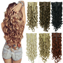 """StrongBeauty 20"""" Wavy Full Head Synthetic Heat Resistance Hair Extensions Clip on in Hairpieces 8pcs 260g"""