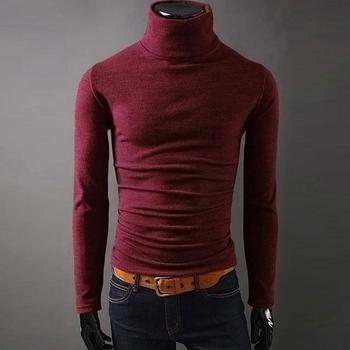 2020 New Autumn Mens Sweaters Casual fashion Male turtleneck Man's Black Solid Knitwear Slim Fit Brand Clothing Sweater 1