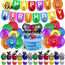 Cake Topper Balloon-Banner Game-Theme Pet-Cartoon-Toys Latex Happy-Birthday-Party-Decorations
