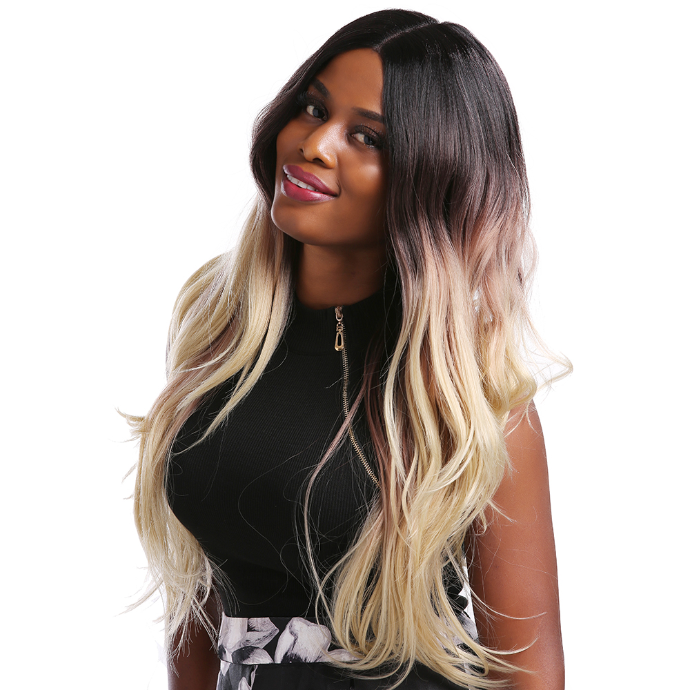 SOKU Ombre Blonde Synthetic Lace Front Wigs For Women Middle Part Natural Wave Lace Front Wig Trendy Long Hair Wigs