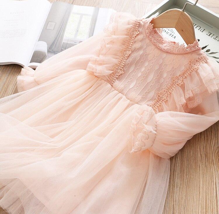 Кружевное платье для девочек; платье принцессы для маленьких девочек; коллекция года; сезон весна - Color: Pink