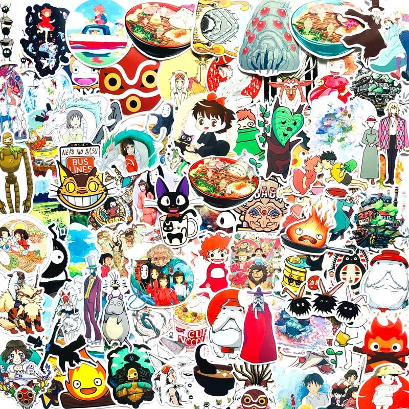 100pcs Cute vsco Miyazaki Hayao Spirited Away Anime Stickers Home Wall Suitcase Graffiti Sticker laptop Kids Toys(China)