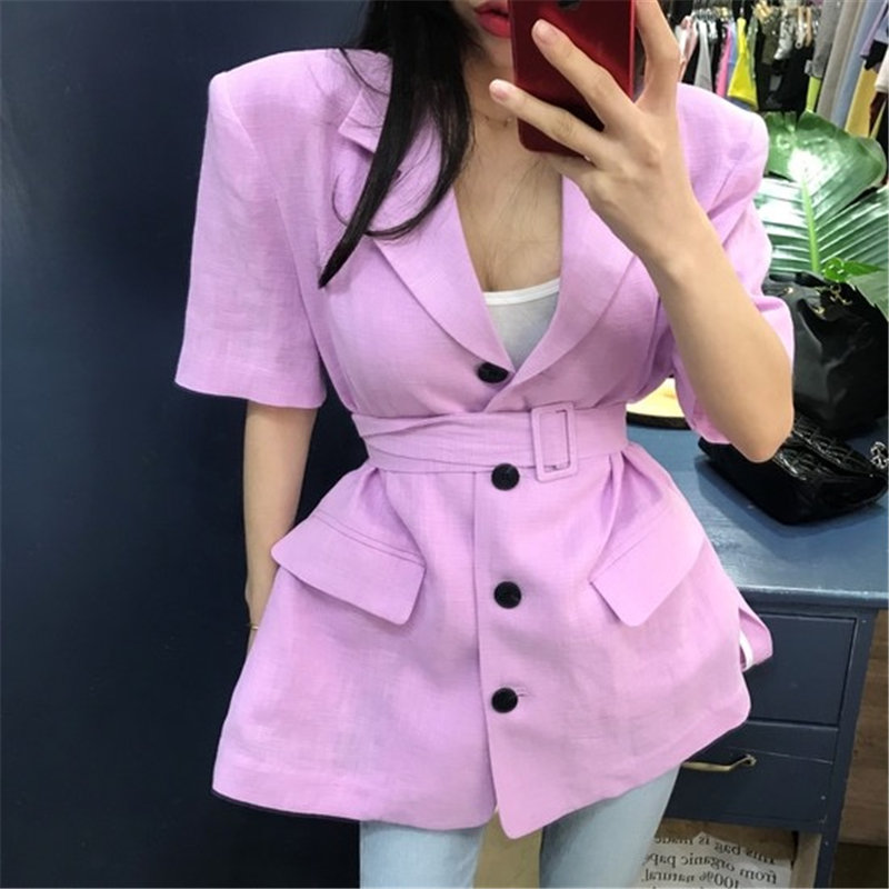 HziriP Chic Office Lady 2020 Gentle Casual Short Sleeves Solid Woolen Leisure Women Loose All Match Brief Sashes Belt Blazers