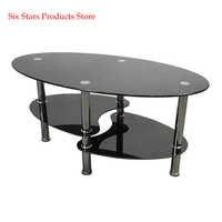 Dual Fishtail Style Tempered Glass Coffee Table Black Oval Side Coffee Table Shelf Chrome Base Living Room Black Modern Coffee