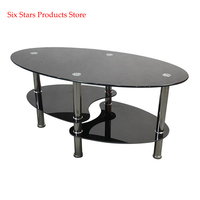 Dual Fishtail Style Tempered Glass Coffee Table Black Oval Side Coffee Table Shelf Chrome Base Living Room Black Modern Coffee