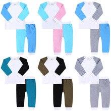 Pants Pajamas-Set Baby-Boys-Girls Cotton Patchwork Lounge-Set Top Contrast-Colour Wholesale