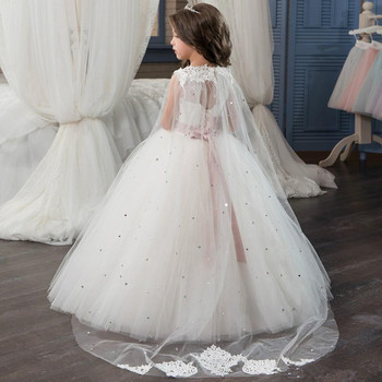 Pink Beaded Sash Flower Girl Dresses Princess Long Puffy Tulle Prom Dress Kids Evening Gown with Lace Cape vestido princesa