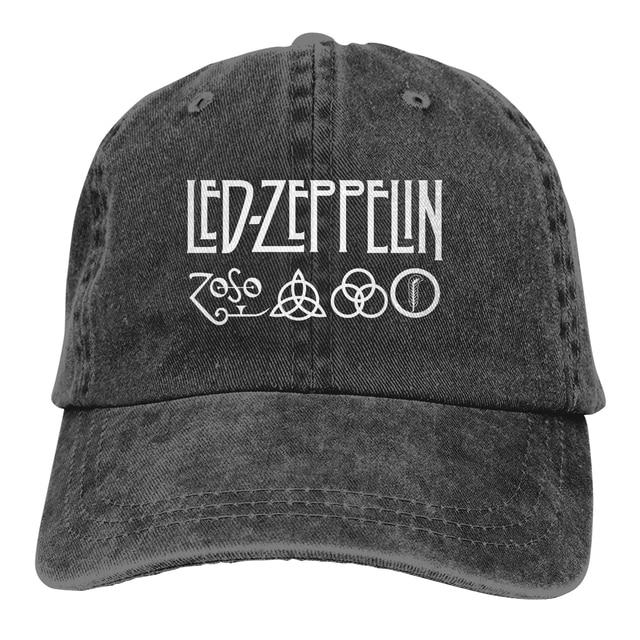 Led-Zeppelin Casquette Black Unisex Mens Womens Denim Strapback Baseball Cap Adjustable Golf Dad hat