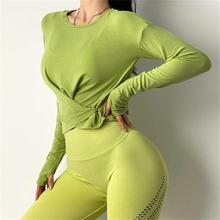 Женский спортивный топ осенние Рубашки для йоги сексуальная