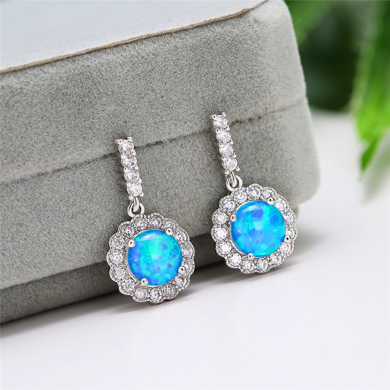 8MM Round White Blue Fire Opal Stone Drop Earrings White Gold Flower White Zircon Dangle Earrings For Women Wedding Jewelry Gift