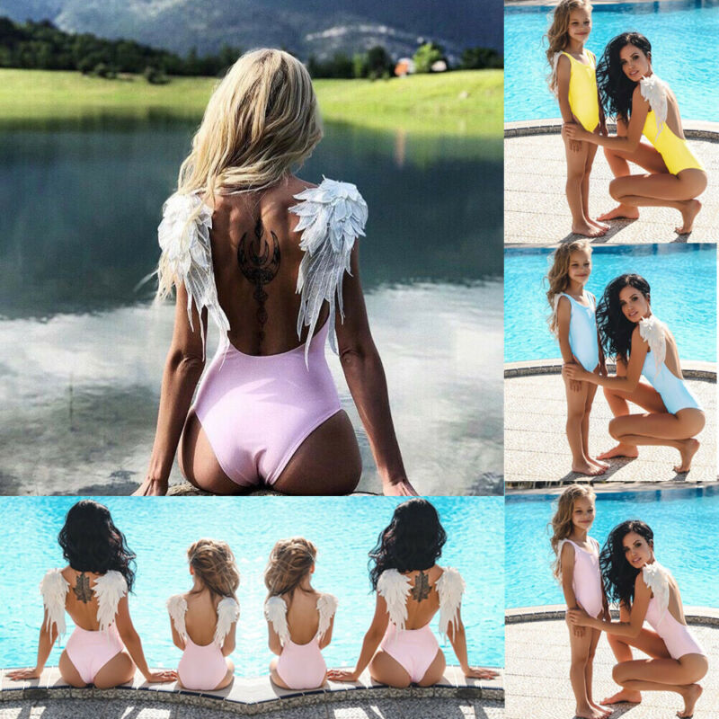 2020 Mother Daughter Swimsuit Women Kids Girls Swimwear Bathing Suit Bikini Beachwear angle wing creative family matching clothe