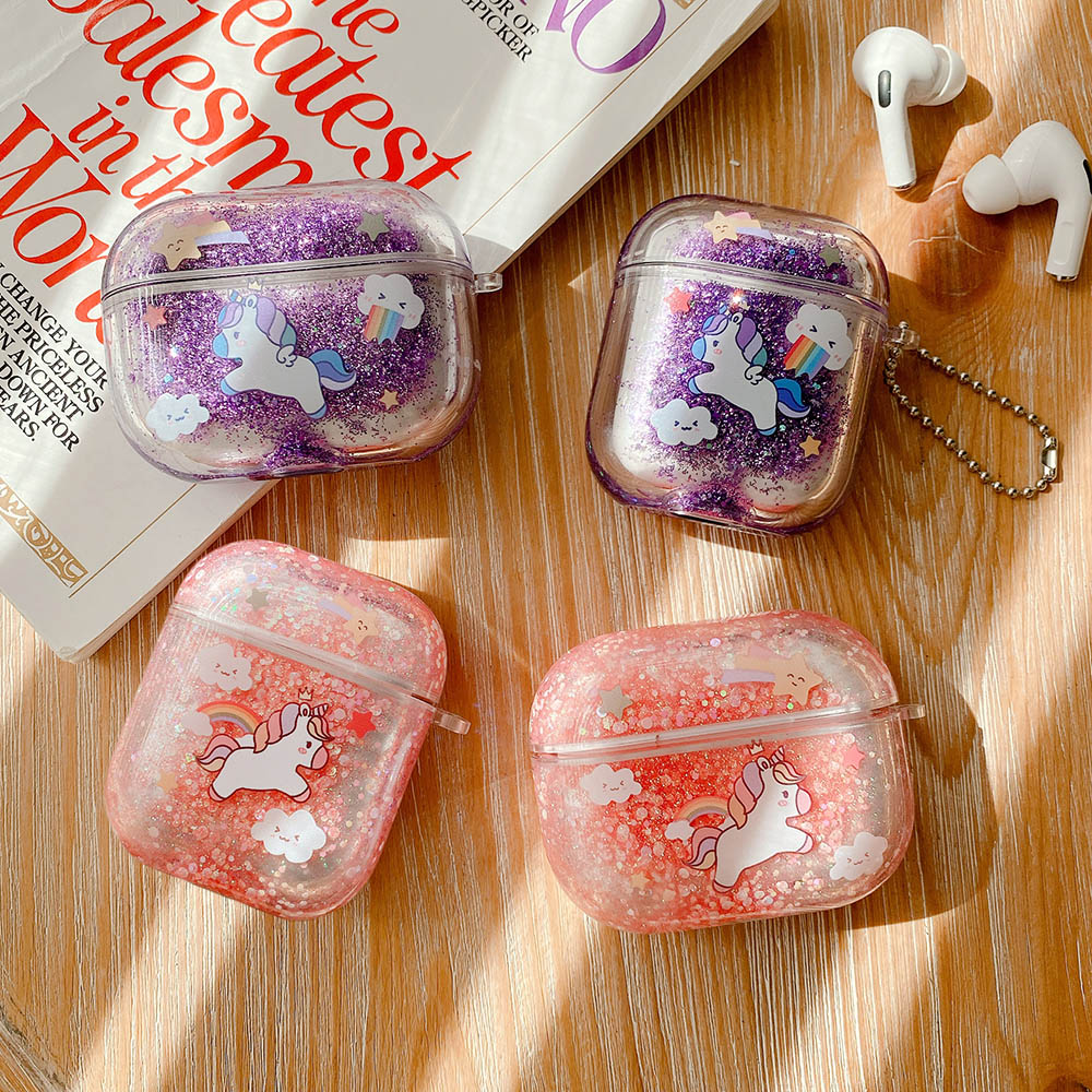 Unicorn Liquid Quicksand Earphone Case For Apple Airpods Pro 2 1 Cute Air Pods Glitter Sequins Bling Cover Protector Shell Coque Earphone Accessories  - AliExpress