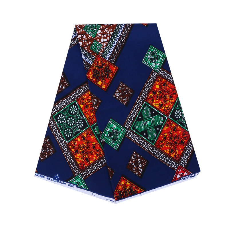 100% Cotton Newest Design African Fabric Colorful Square Pattern High Quality