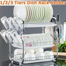 2/3 camada prato de secagem rack titular cesta chapeado ferro casa lavagem titular pia da cozinha escorredor prato secagem rack organizador prateleira